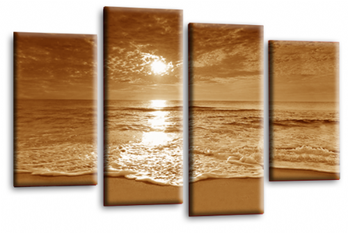 Sunset Seascape Canvas Picture Wall Art Beach Print Sepia Cream